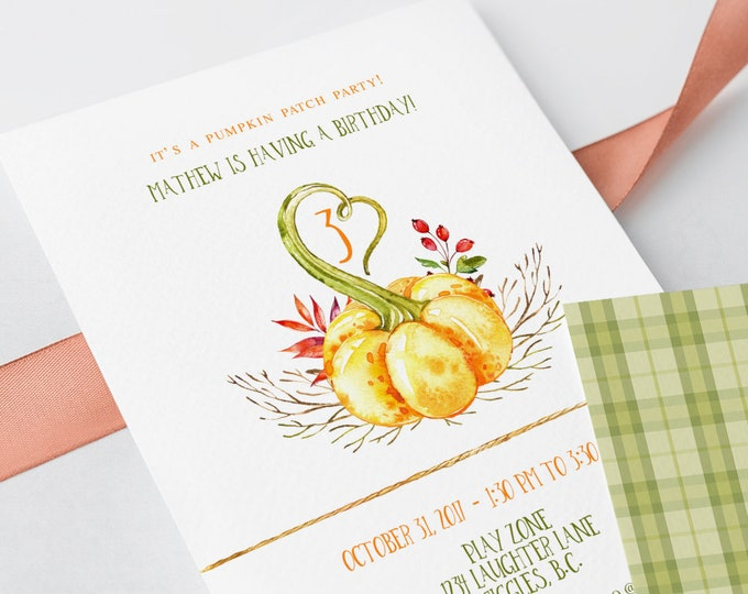 Birthday Party Invitations - Pumpkin Patch Party (Style 13756)