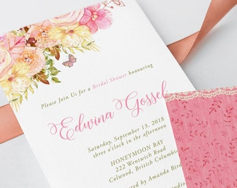 Bridal Shower Invitations - Pink Boho (Style 13634)