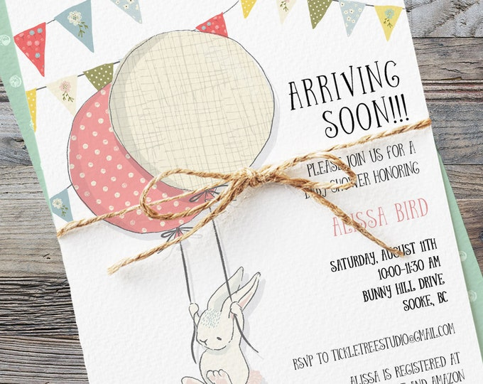 Baby Shower Invitations - Arriving Soon Bunny (Style 13643)