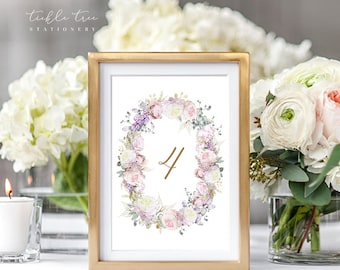 Table Number Cards - White Rose & Gold (Style 13806)