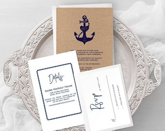 Printable Wedding Stationery - Anchors Away (Style 13855)