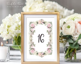 Table Numbers Cards - Roses in Bloom (Style 13807)