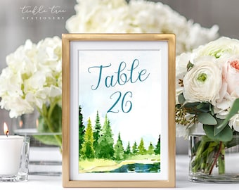 Table Number Cards - Lakeside Love (Style 13724)