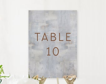 Table Number Cards - Modern/Copper & Grey (Style 13834)