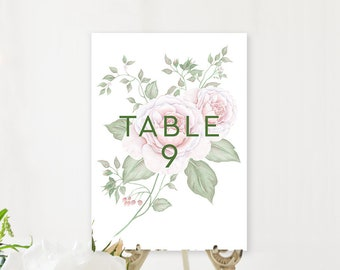 Table Number Cards - Vintage Rose (Style 13846)