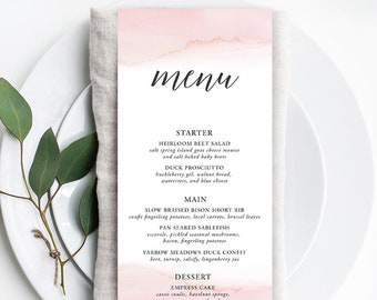Menus - Modern and Subtle Golds & Pinks (Style 13844)