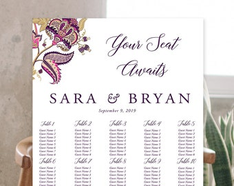Seating Chart - Indian Print Fuchsia & Royal Purple (Style 13867)