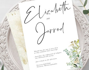 Wedding Invitations - Simple Greenery (Style 13951)