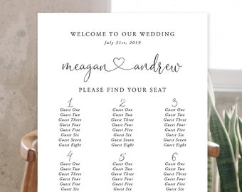 Seating Chart - Simple & Modern/Calligraphy (Style 13953)