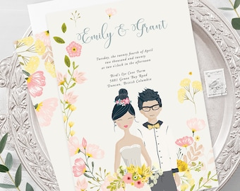 Wedding Invitations - Country Fun/Couple Illustrations (Style 13927)