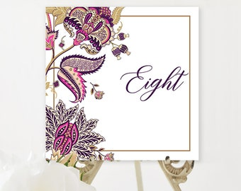 Table Numbers/Table Decor - Indian Print Fuchsia & Royal Purple (Style 13867)