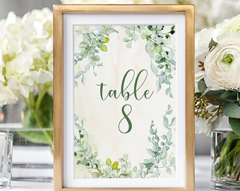 Table Numbers/Table Decor - Foliage & Watercolours (Style 13828)