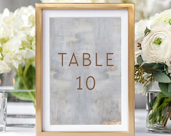 Table Numbers/Table Decor - Modern/Copper & Grey (Style 13834)