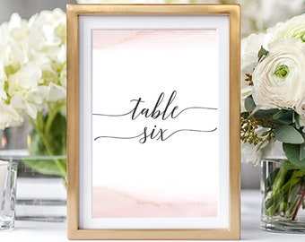 Table Numbers/Table Decor - Modern and Subtle Golds & Pinks (Style 13844)