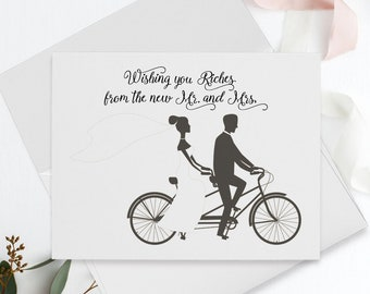 Thank You Cards - Wishing You Riches from the New Mr. & Mrs.
