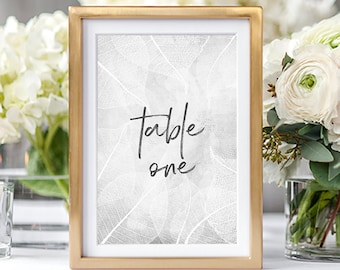 Table Numbers/Table Decor - White Leaf Print (Style 13655)