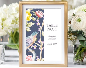 Table Numbers/Table Decor - Chinoiserie Motif (Style 13860)