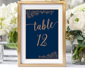 Table Numbers/Table Decor - Royal Blue & Gold (Style 13868)