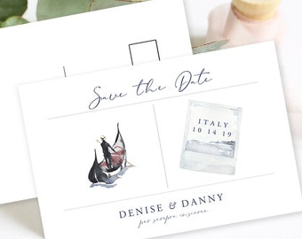 Save the Date Postcards - Destination Italy & A Gondola Ride (Style 13911)