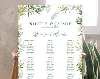 Seating Chart - Shades of Green (Style 13946)