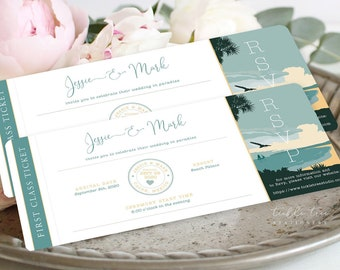Wedding Invitations/Boarding Tickets - Destination, Paradise (Style 13914)
