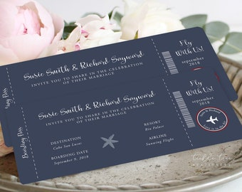 Wedding Invitations/Boarding Tickets - Wanderlust - Come Fly with Us (Style 13769)