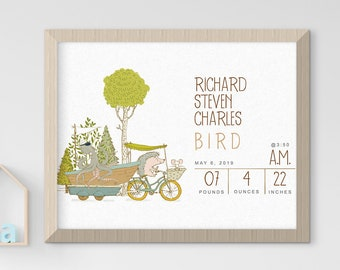 Child's Nursery Art - Birth Poster: Get Ready World (Style 14008)