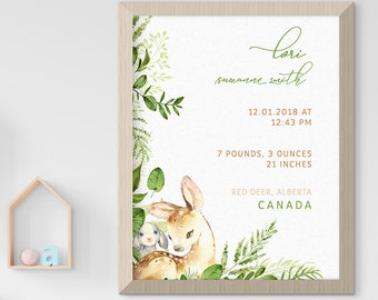 Child's Nursery Art - Birth Poster: Woodland Friends (Style 14016)
