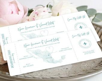 Wedding Invitations/Boarding Tickets - Wanderlust - Destination Wedding (Style 13884)