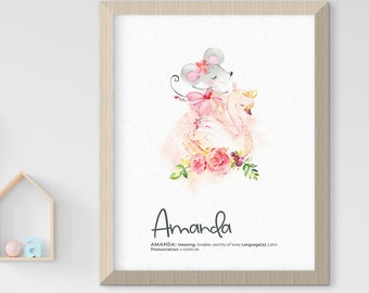 Child's Nursery Art - Birth Poster: My Name, Ballerina Theme (Style 14003)