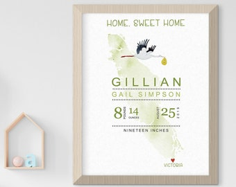 Child's Nursery Art - Birth Poster: Home, Sweet Home (Style 14029)