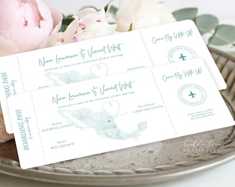 Wedding Invitations/Boarding Tickets - Wanderlust - Destination Wedding (Style 13884)