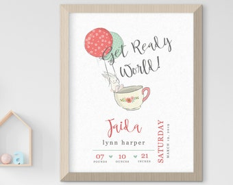 Child's Nursery Art - Birth Poster: Get Ready World (Style 14026)