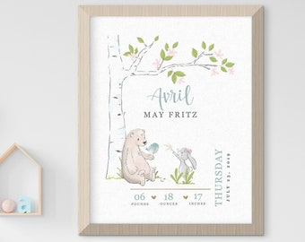 Child's Nursery Art - Birth Poster: Sweet Forest Animals (Style 14001)