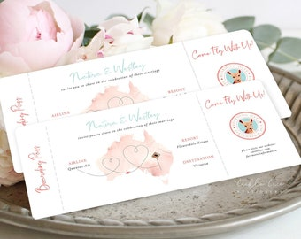 Wedding Invitations/Boarding Tickets - Wanderlust - Destination Wedding (Style 13885)
