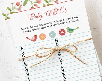 Printable Baby Shower ABC Game Card - Cute as a Button (Style 13226)