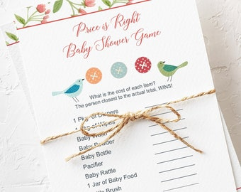 Printable Baby Shower Price it Right Game Card - Cute as a Button (Style 13226)