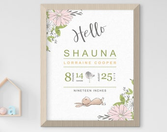 Child's Nursery Art - Birth Poster: Garden Bunny (Style 14002)