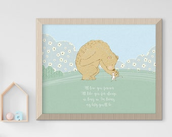 Child's Nursery Art - Birth Poster: Love & Friendship (Style 14019)