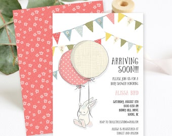 Baby Shower Invitation Packages - Arriving Soon Bunny (Style 13643)