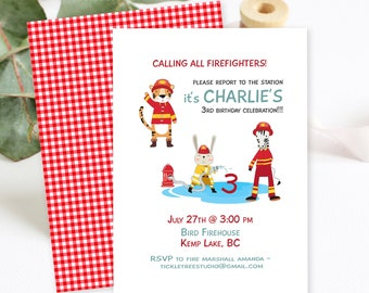 Birthday Party Invitations/Packages - Calling on all Young Firefighters (Style 13530)