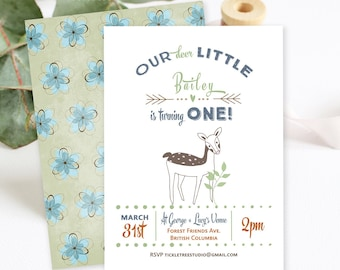 Birthday Party Invitations/Packages - Our Little Deer is Having a Birthday (Style 13521)