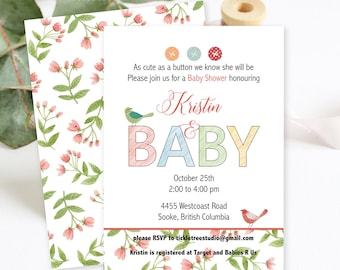 Baby Shower Invitations/Packages - Cute as a Button (Style 13226)
