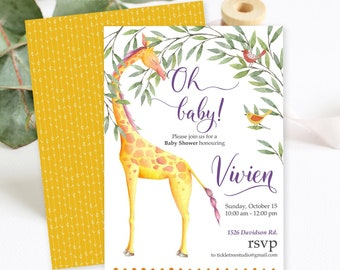 Baby Shower Invitations/Packages - Oh Baby Giraffe Safari (Style 13652)