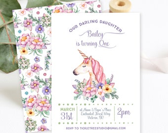 Birthday Party Invitations/Packages - Unicorn Dreams (Style 13731)