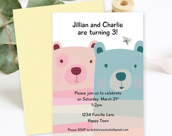 Birthday Party Invitations/Packages - Bear Twins (Style 13005)