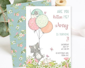 Birthday Party Invitations - Are You Kitten Me (Style 13810)
