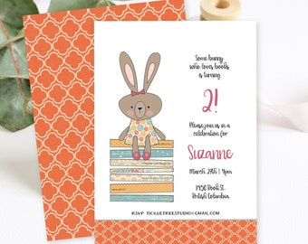 Birthday Party Invitations/Packages - Some Bunny Loves Books! Girl's Birthday (Style 13034)