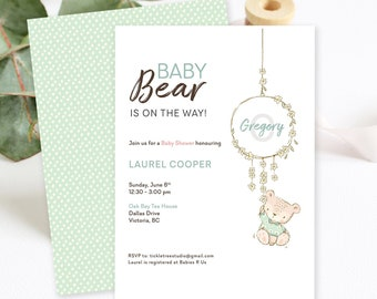 Baby Shower Invitations/Packages - Baby Bear is on His Way (Style 13919)