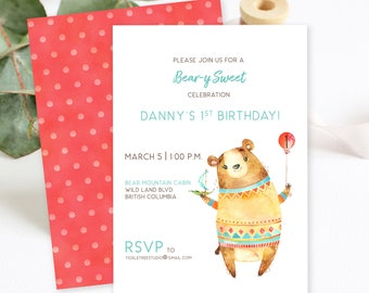 Birthday Party Invitations/Packages - Bear-y Sweet Celebration (Style 13922)